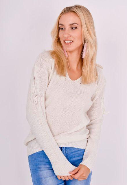 Smotanovo biely sveter s viazaním na rukávoch