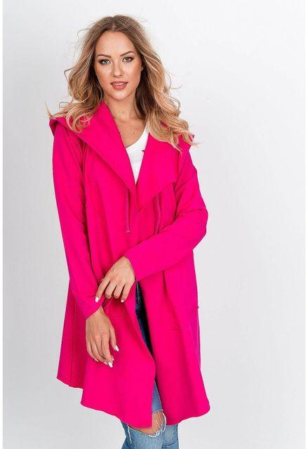 Štýlový ružový kardigan s kapucňou