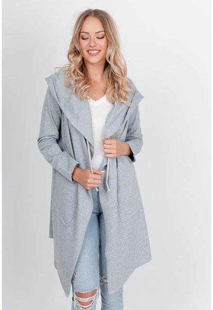 Štýlový sivý kardigan s kapucňou