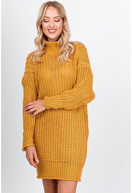 Úpletové horčicové šaty s golierom