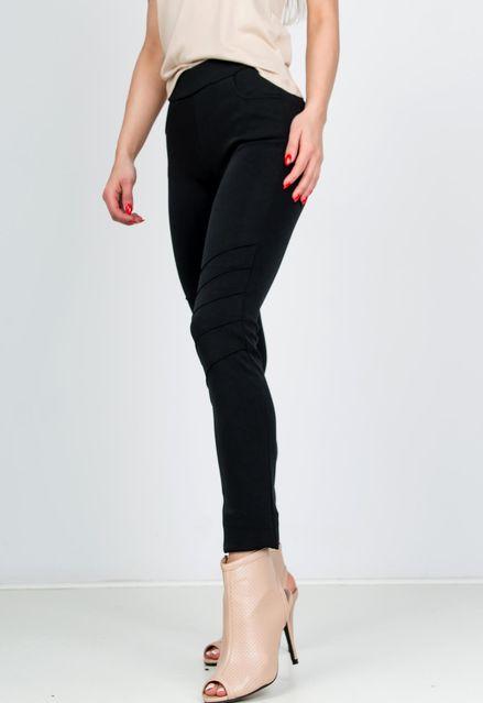 Elegantné čierne nohavice s elastickým pásom