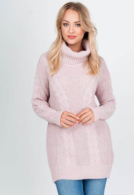 Vlnený ružový sveter s rolákom