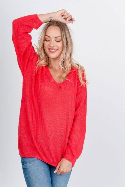 Voľný červený sveter s výstrihom do V