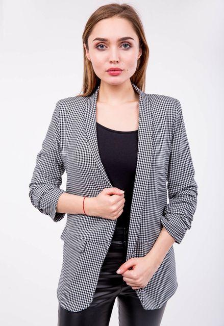 Vzorované čierne dámske sako