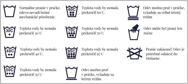 Symboly prania dámske oblečenie