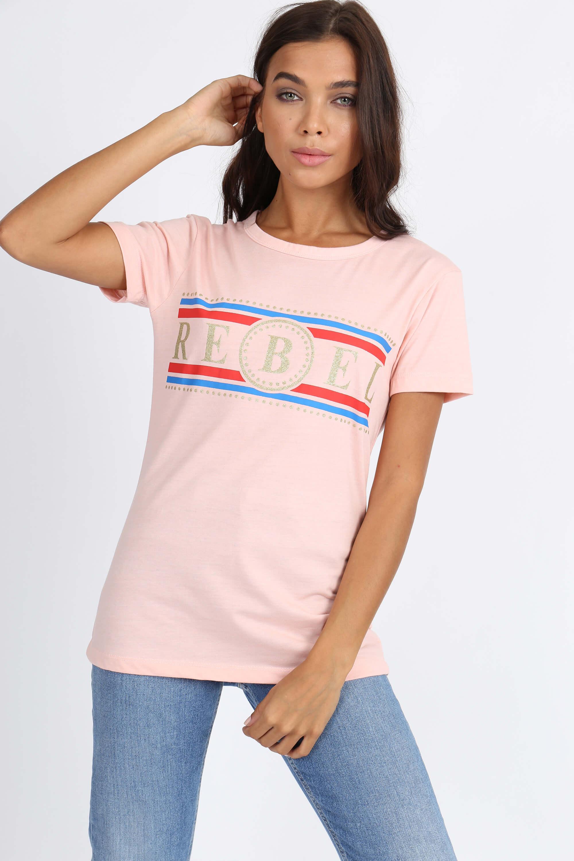 d7a31fe9b7b9 Ružové dámske tričko s krátkym rukávom a potlačou REBEL - ROUZIT.SK