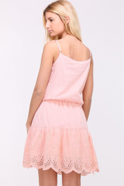 5c66110dc764 Krátke letné ružové šaty na ramienkach - ROUZIT.SK