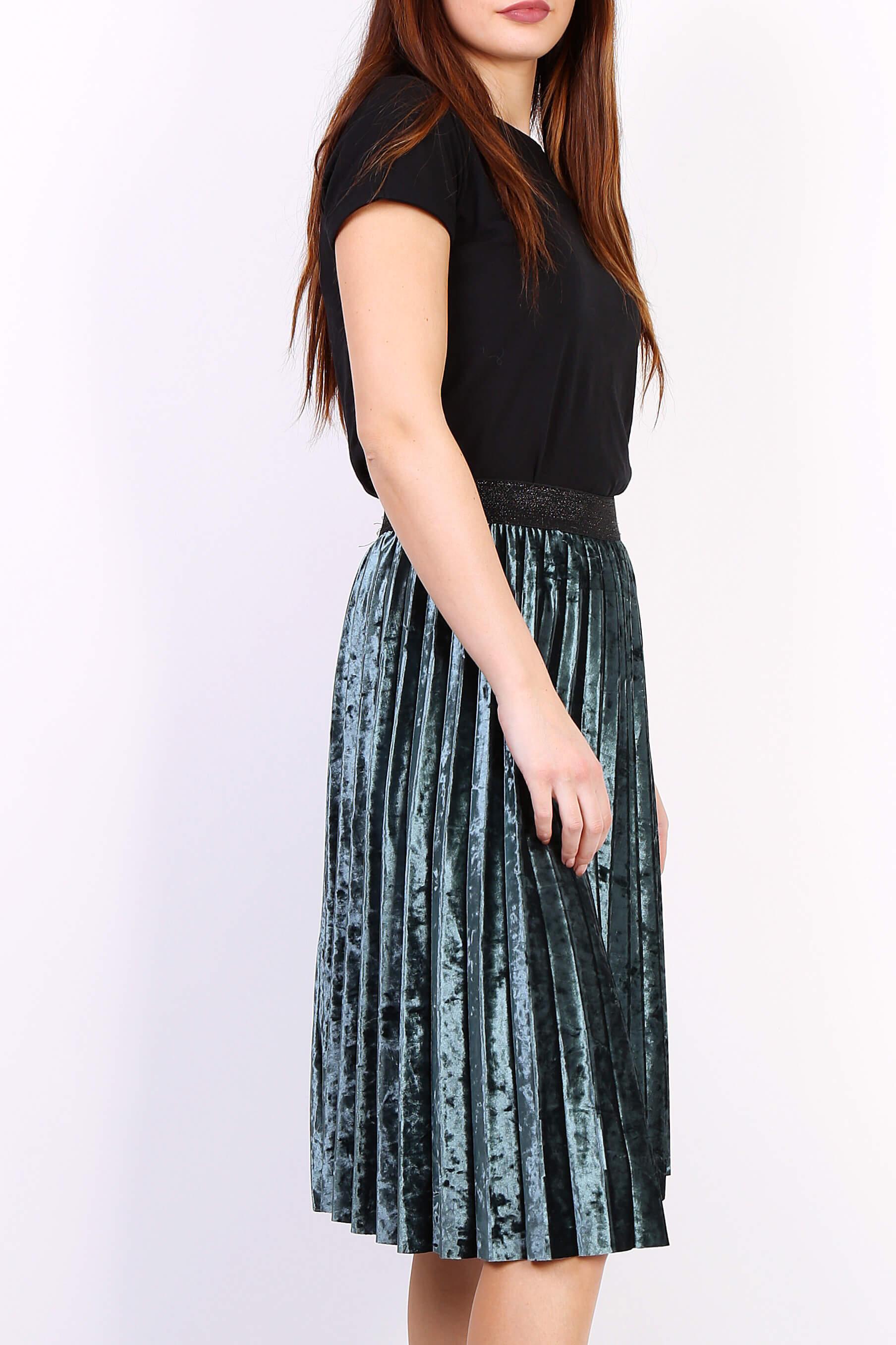 de3ac40f99cd Zelená plisovaná stredne dlhá sukňa - ROUZIT.SK