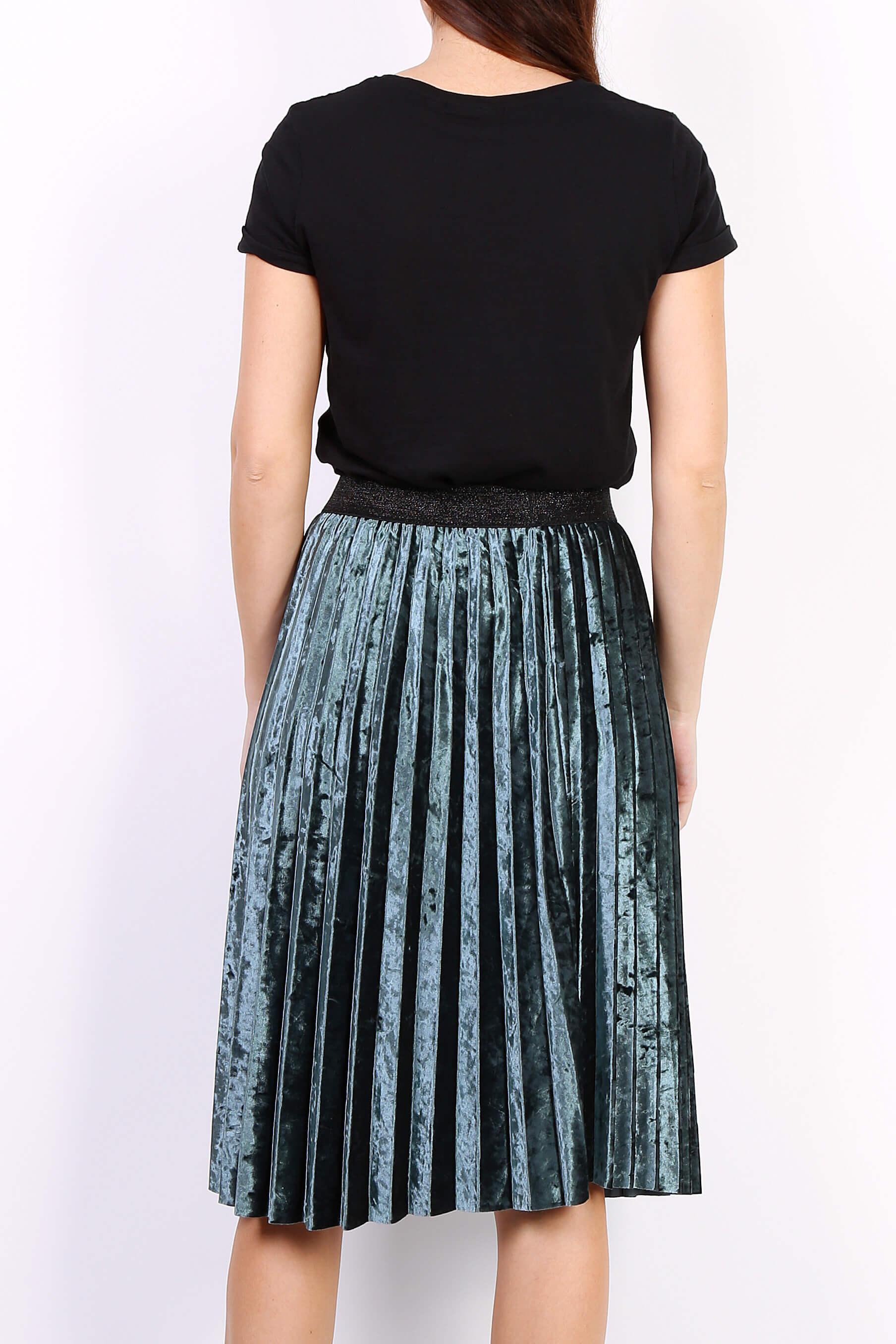 7f0406fdc829 Zelená plisovaná stredne dlhá sukňa - ROUZIT.SK