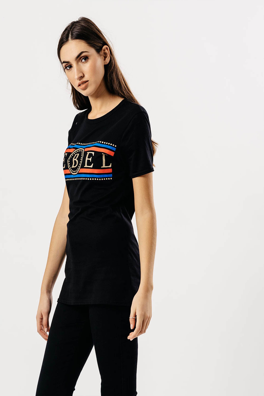 ee771fcb076a Dámske čierne tričko s krátkym rukávom a potlačou REBEL - ROUZIT.SK