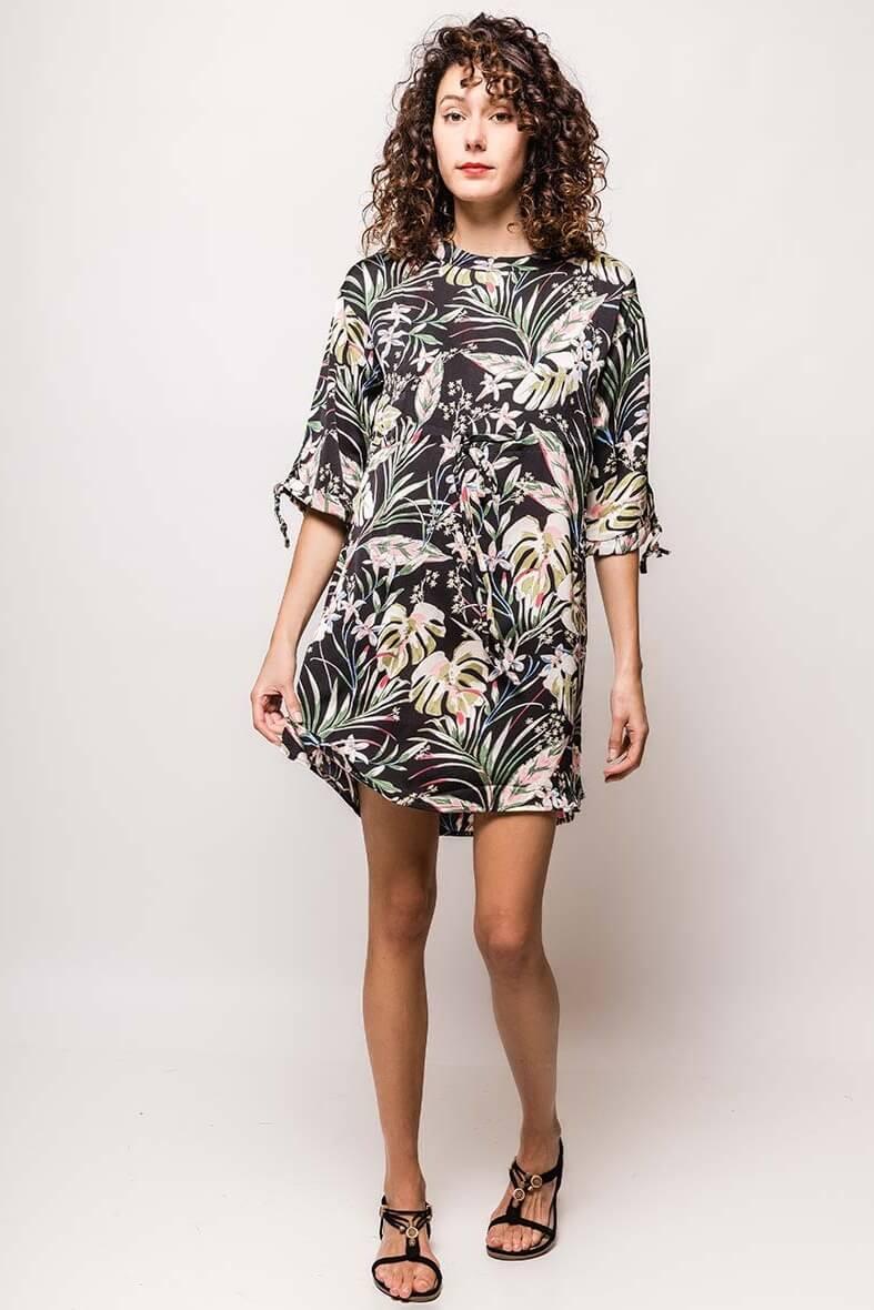 eb80448bd61c Dámske krátke šaty s potlačou tropických listov - ROUZIT.SK