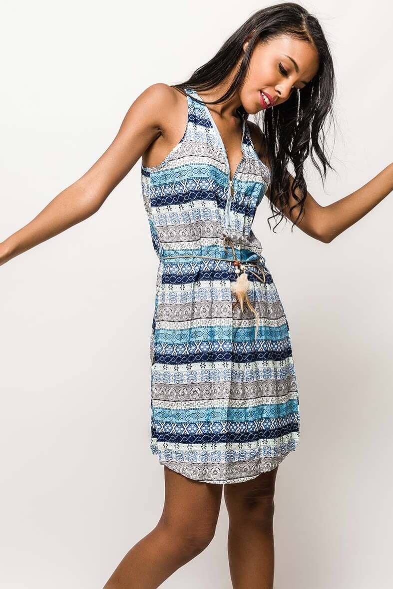 Letné modré vzorované šaty - ROUZIT.SK f7ec070132e
