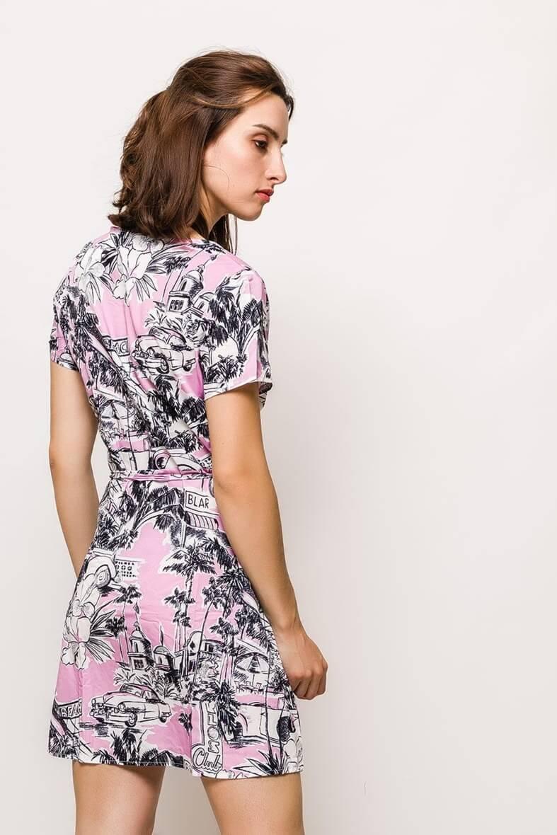 370d0a98cc46 Dámske ružové šaty s potlačou - ROUZIT.SK