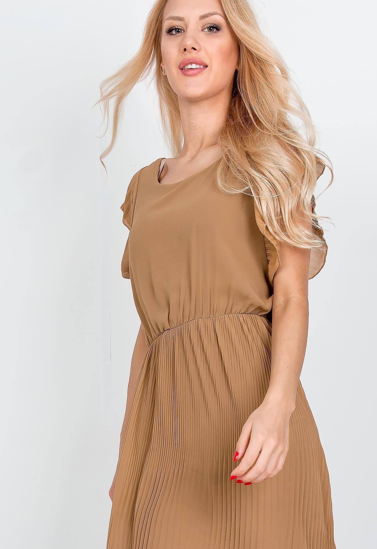 b81fa17e6 Dlhé béžové letné šaty s krátkym rukávom - ROUZIT.SK