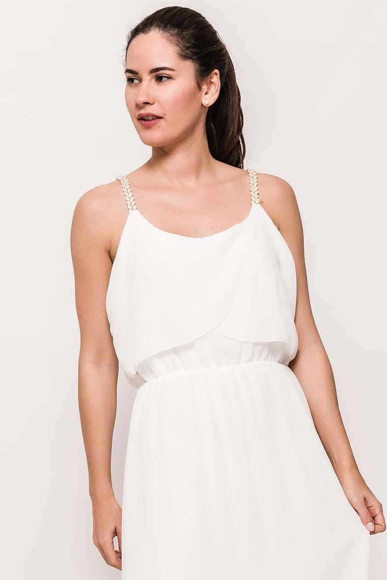 95cf66a9f907 Dlhé biele šaty na ramienka. Dlhé biele šaty na ramienka zväčšiť obrázok