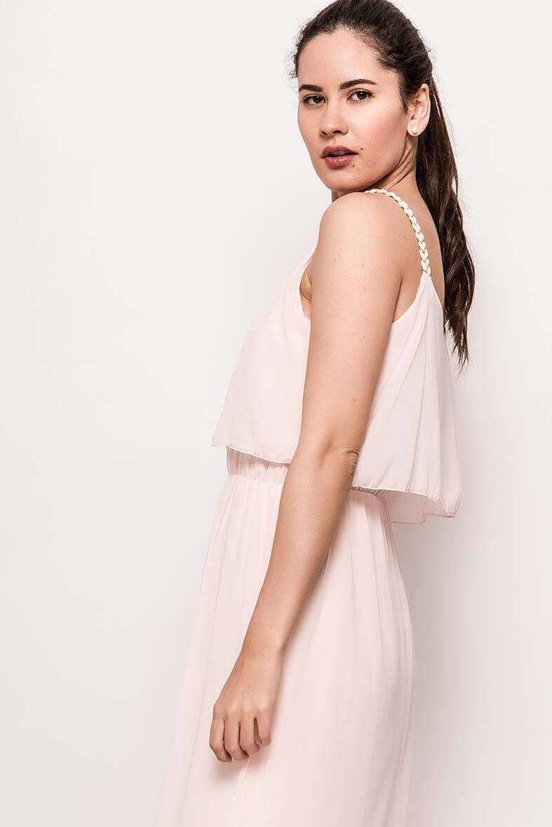 bbb04b8f9b24 Dlhé svetloružové šaty na ramienka - ROUZIT.SK