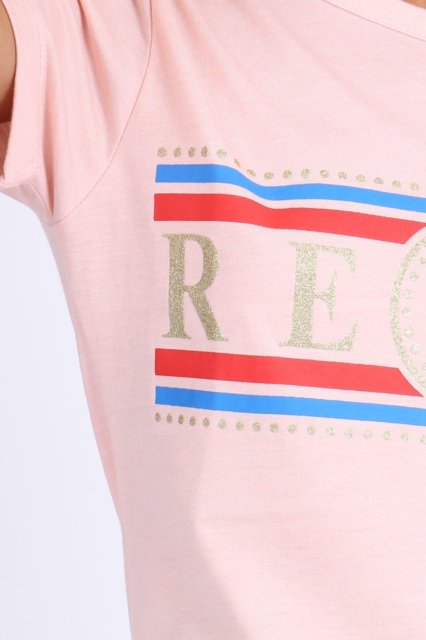 5159561980a2 Ružové dámske tričko s krátkym rukávom a potlačou REBEL - ROUZIT.SK