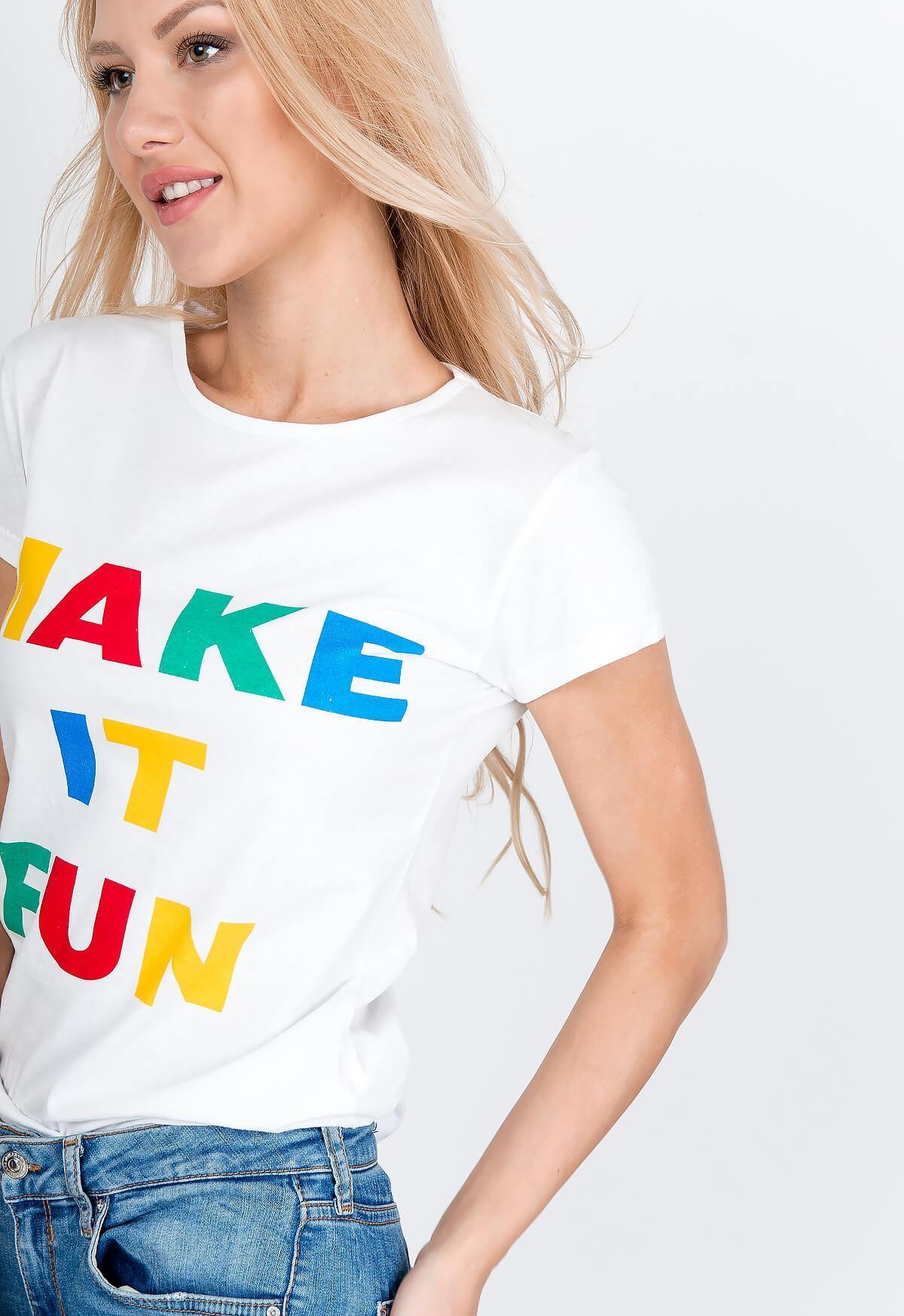 baa0bf3e05138 Biele tričko s nápisom MAKE IT FUN - ROUZIT.SK