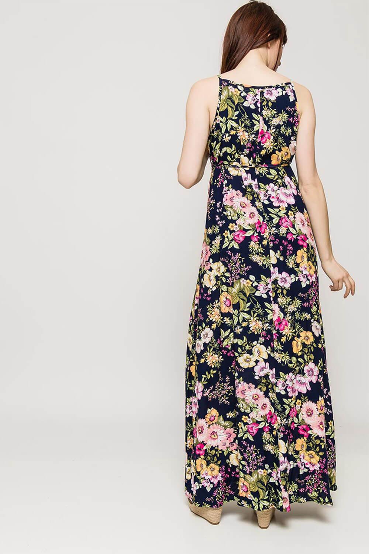 64a75b4b18eb Dlhé tmavomodré kvetované šaty na ramienka - ROUZIT.SK