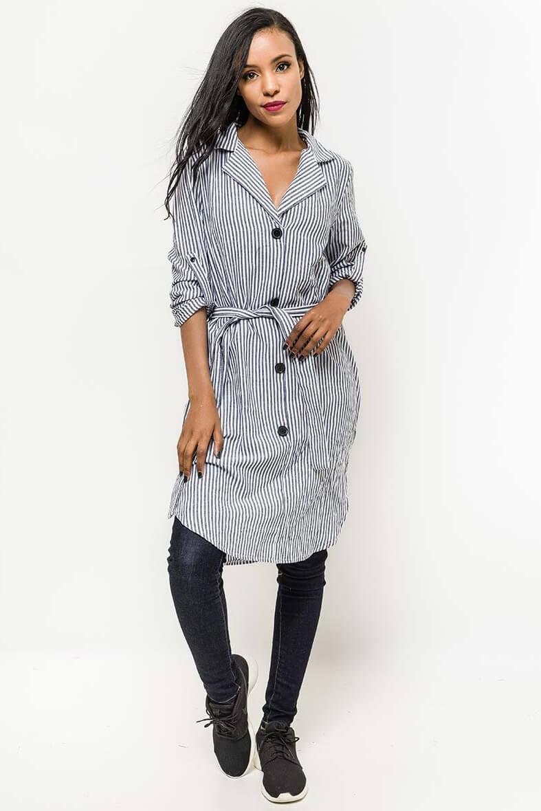 Čierno-biele pruhované košeľové šaty s gombíkmi - ROUZIT.SK 82e65060304