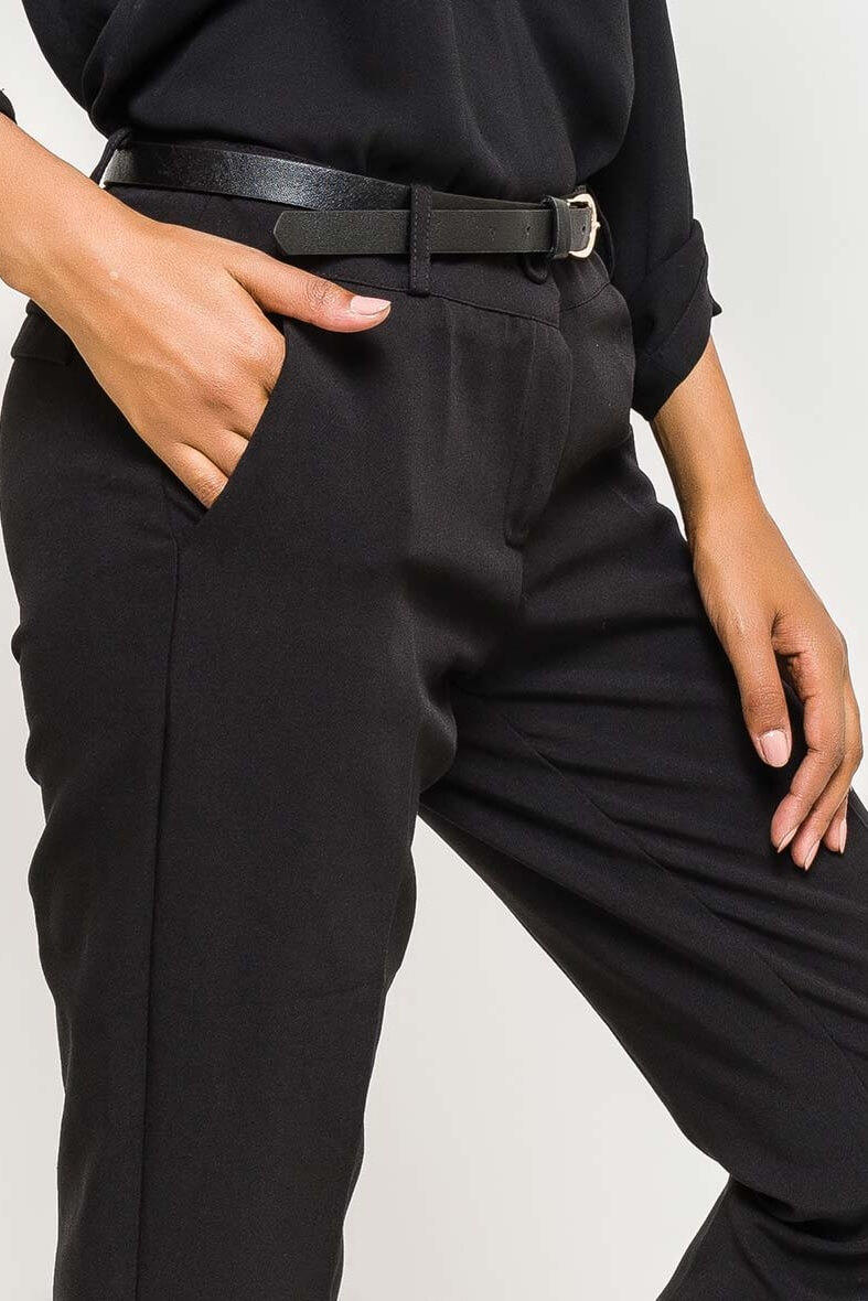 541357f80fa2 Elegantné čierne dámske nohavice s opaskom - ROUZIT.SK