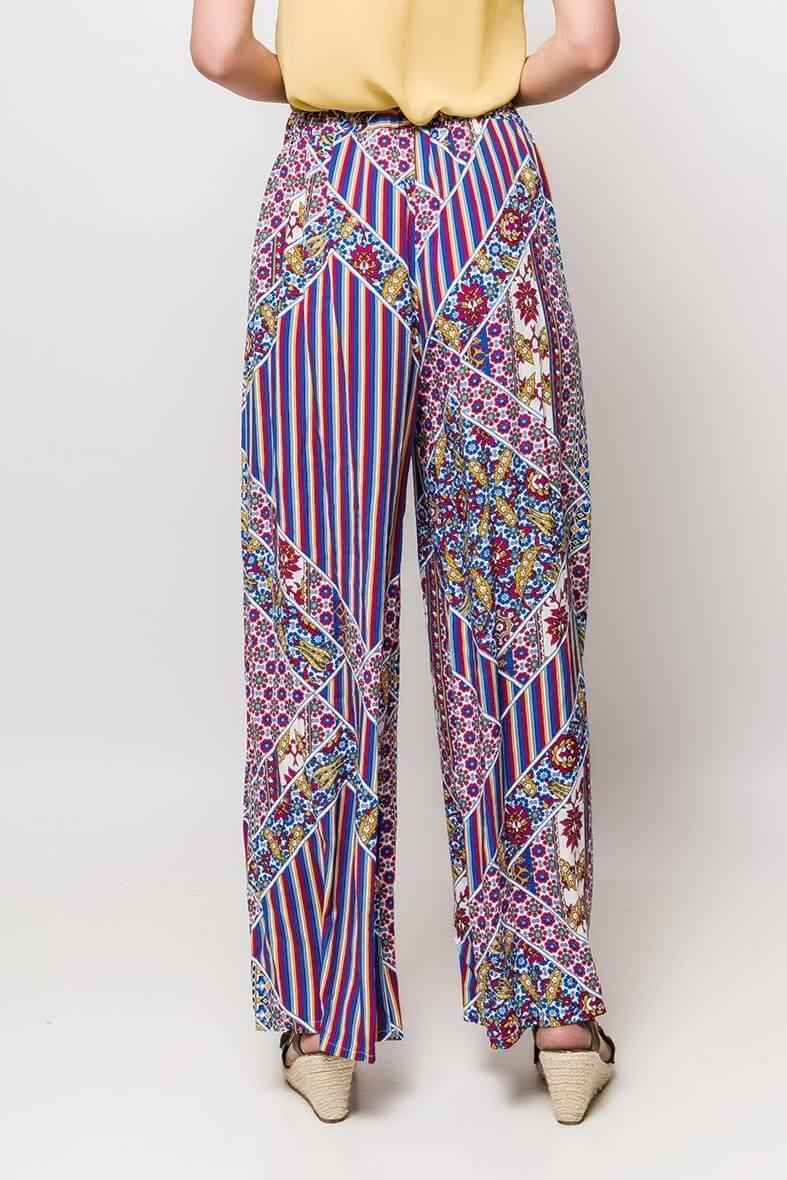 f5a7c8600e39 Dámske ružovo-modré vzorované nohavice - ROUZIT.SK