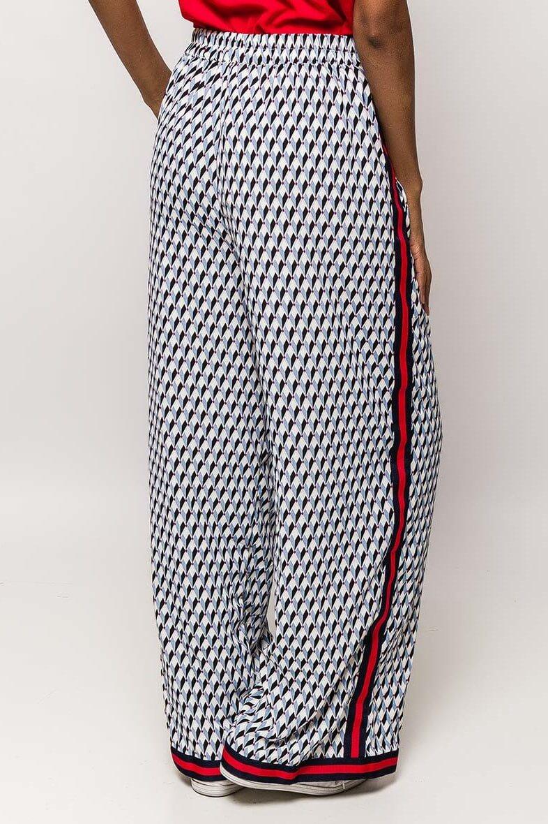 b105ffa62bd0 Modré vzorované dámske nohavice s pásikom - ROUZIT.SK