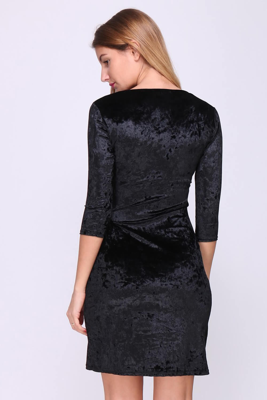 Elegantné čierne midi šaty s nariasením - ROUZIT.SK 07bad067315