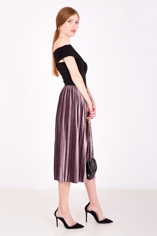 2f0c69731303 Fialová stredne dlhá plisovaná sukňa - ROUZIT.SK