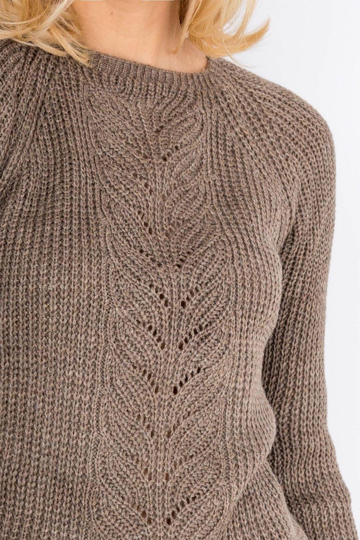 79ff76f3f086 Teplý hnedý vzorovaný dámsky sveter - ROUZIT.SK