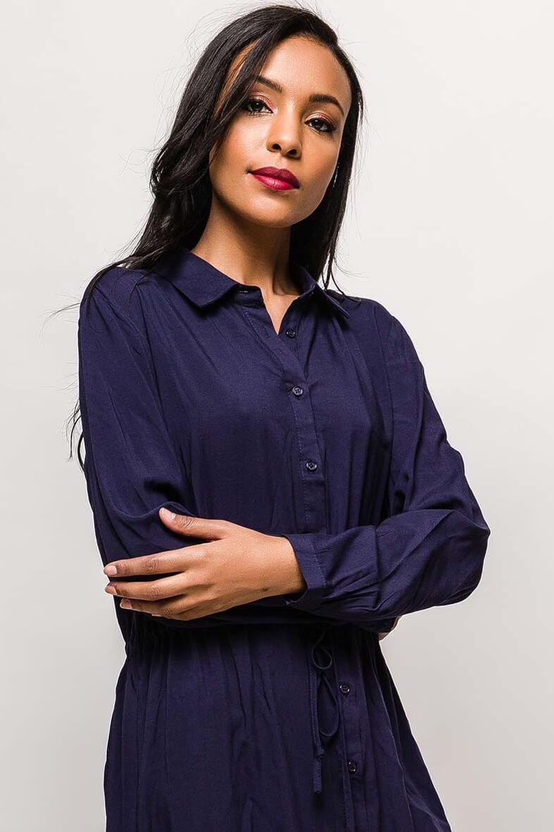 Tmavomodré košeľové šaty s dlhým rukávom - Dámske oblečenie  36d1b3b705