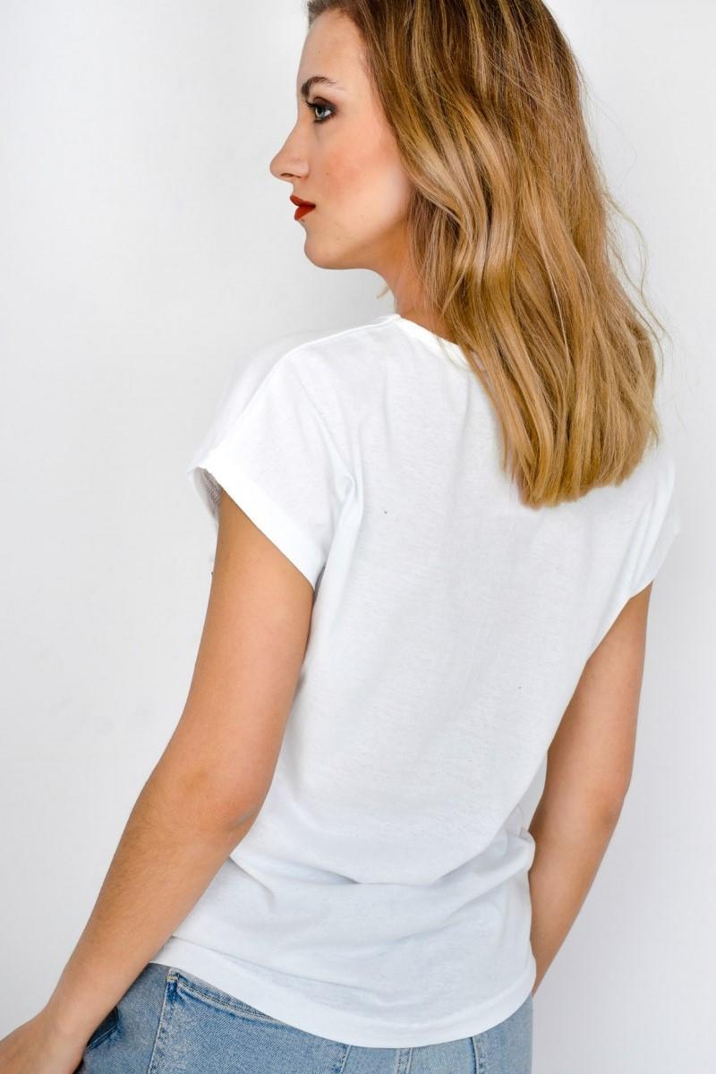 c75e3fb89b35 Dámske biele tričko s krátkym rukávom BE POSITIVE - ROUZIT.SK