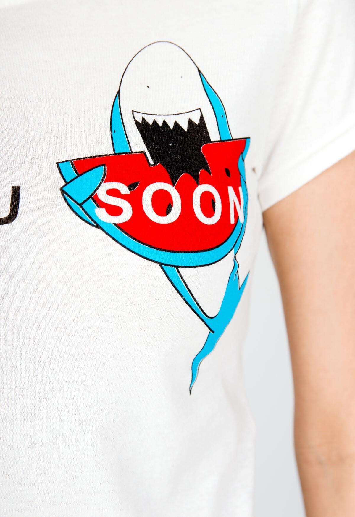 9762f332cc45 Biele tričko s potlačou žraloka a nápisom - ROUZIT.SK