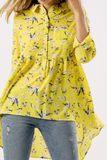 Žltá kvetinová tunika s golierom