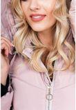 Dlhá ružová prešívaná bunda s kapucňou