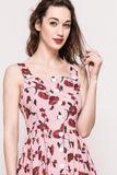 Dámske midi šaty s potlačou kvetu vlčí mak