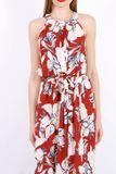 Dlhé červené kvetované letné šaty