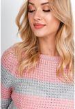 Oversize pruhovaný ružový sveter