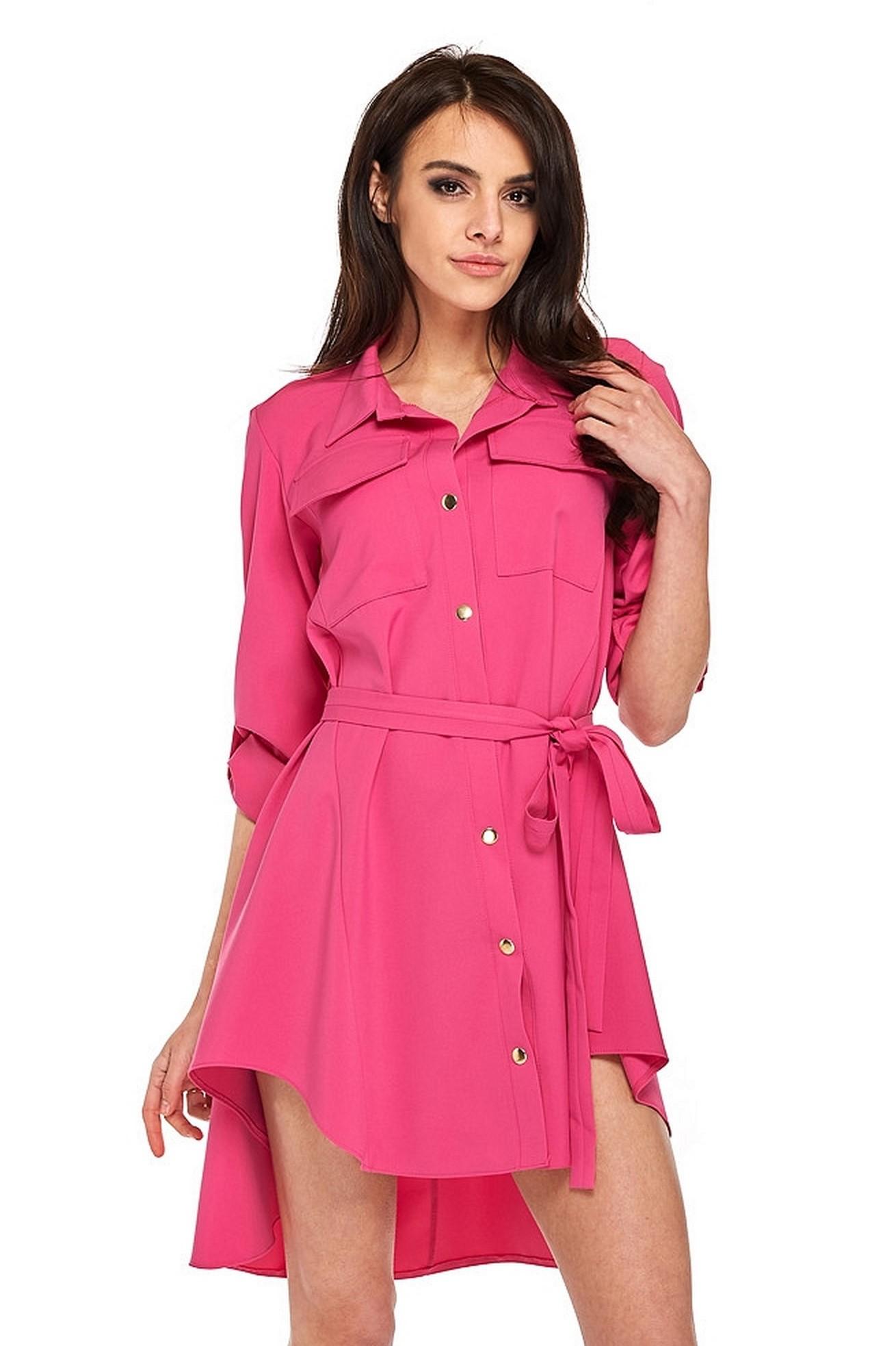 Asymetrické košeľové šaty ružové - L