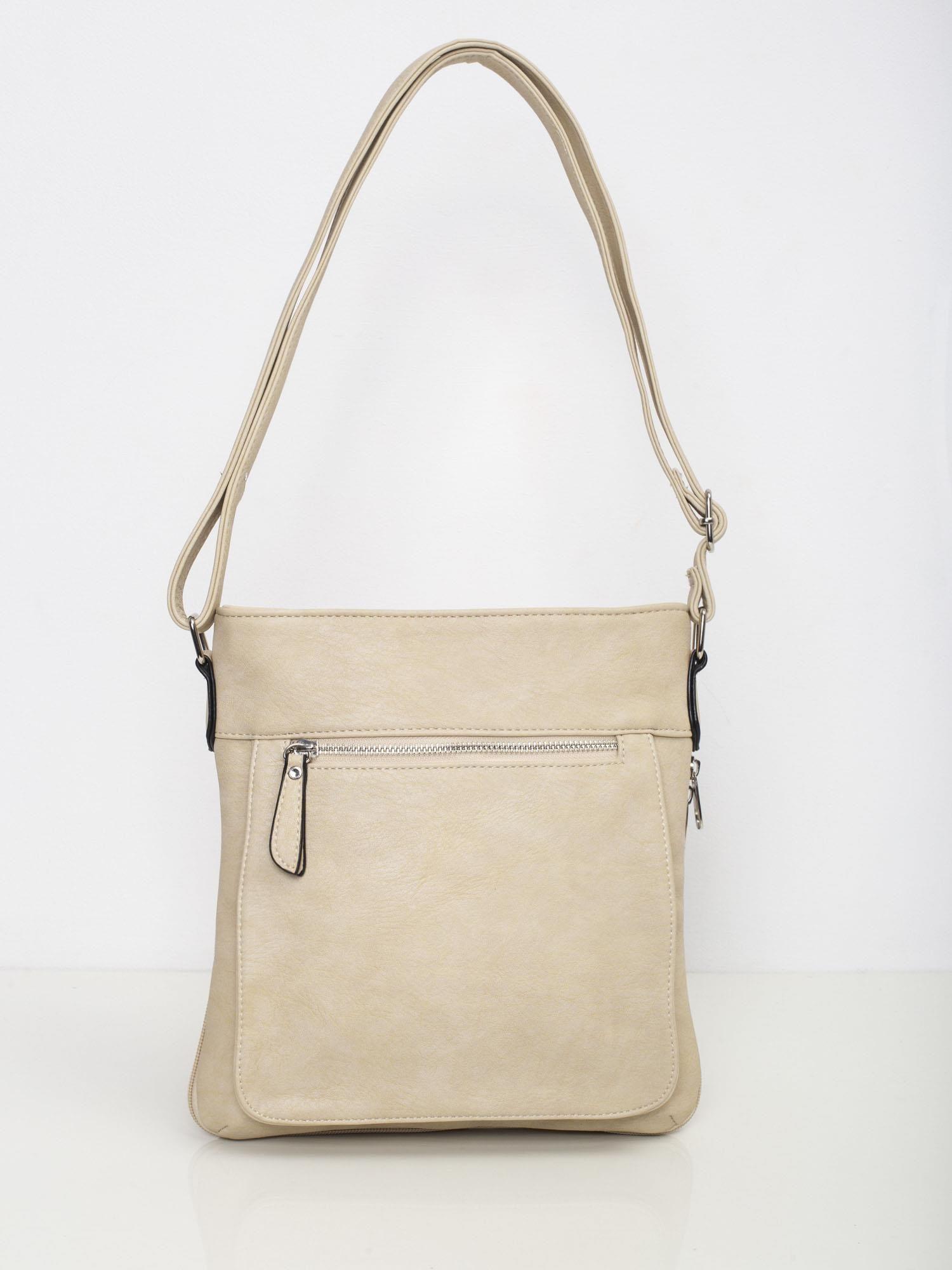 Dámska béžová kabelka s vreckom na zips - UNI