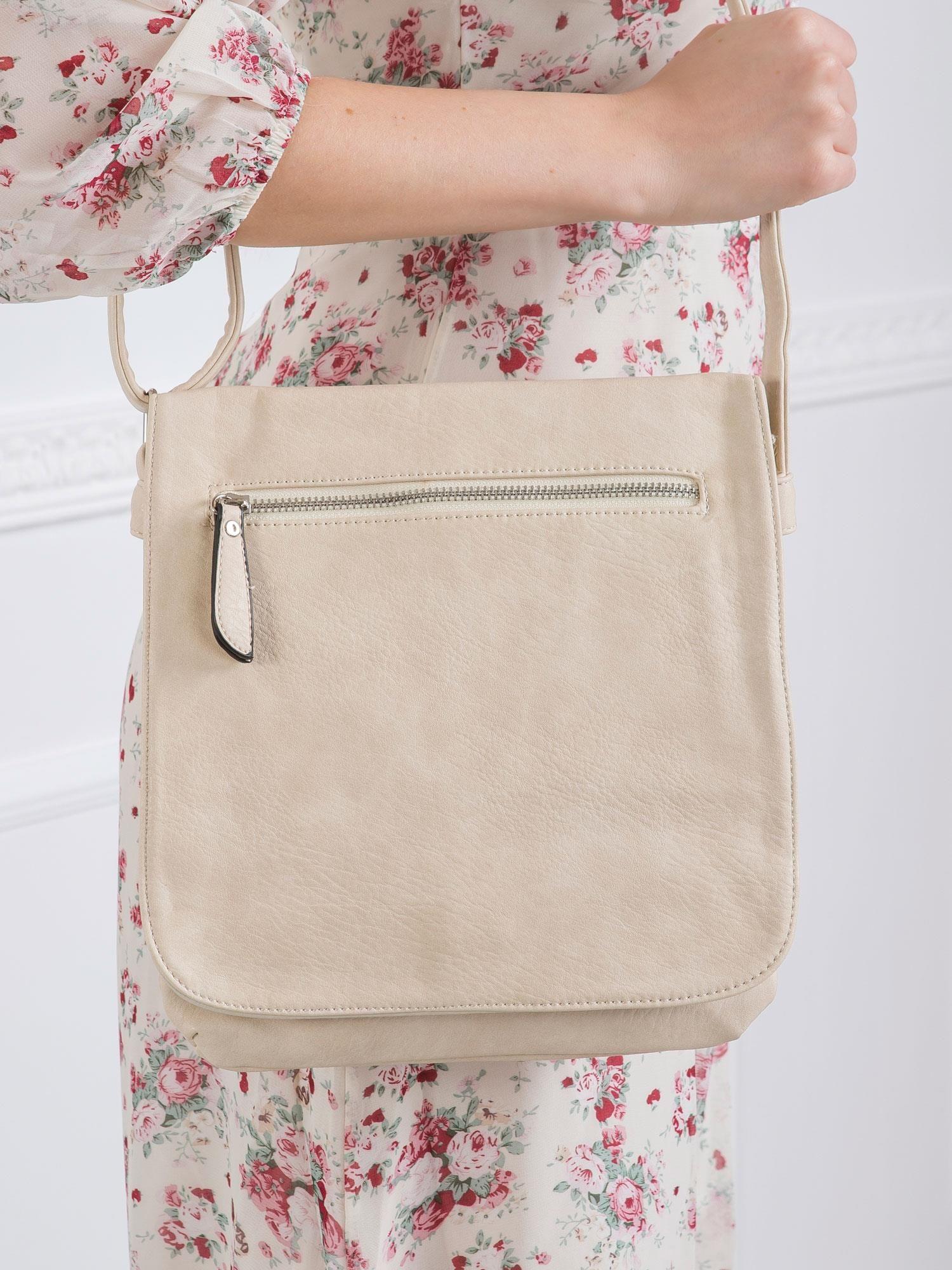 Dámska béžová kabelka s dlhým remienkom - UNI