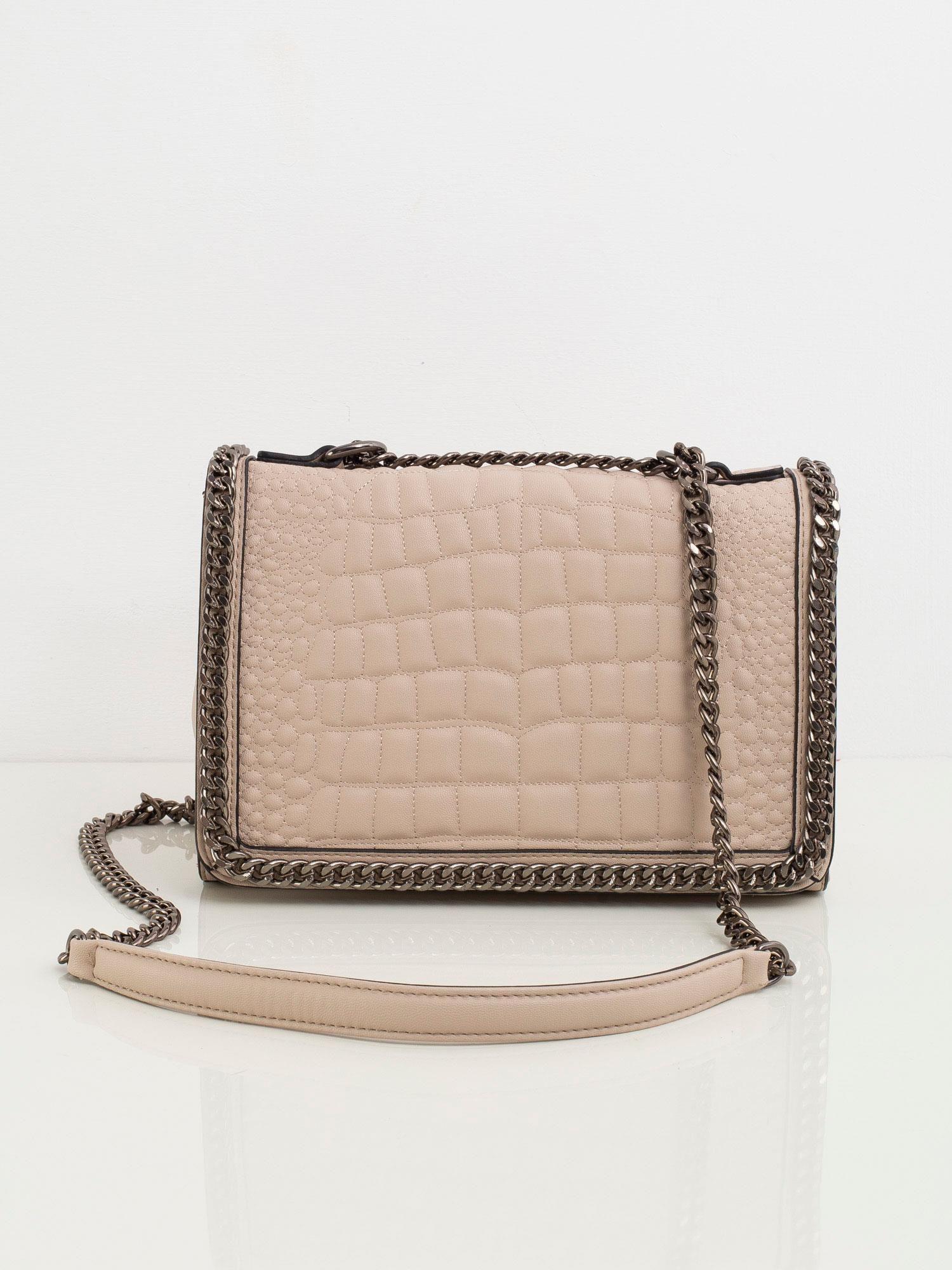 Béžová kabelka na rameno s retiazkou - UNI