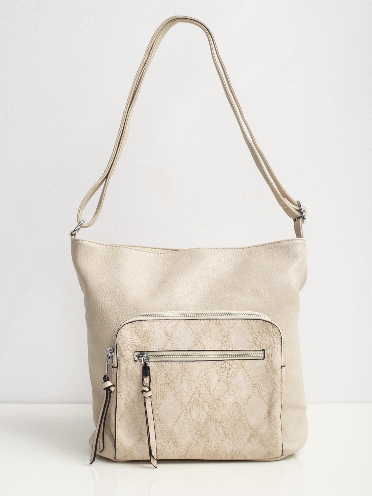 Béžová kabelka na rameno s vreckom - UNI