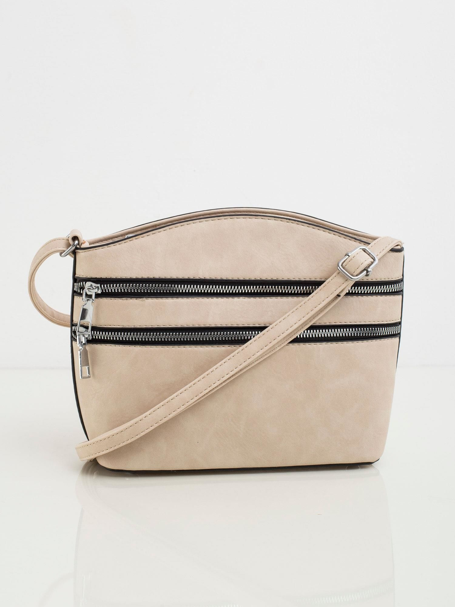 Béžová kabelka na rameno so zipsami - UNI