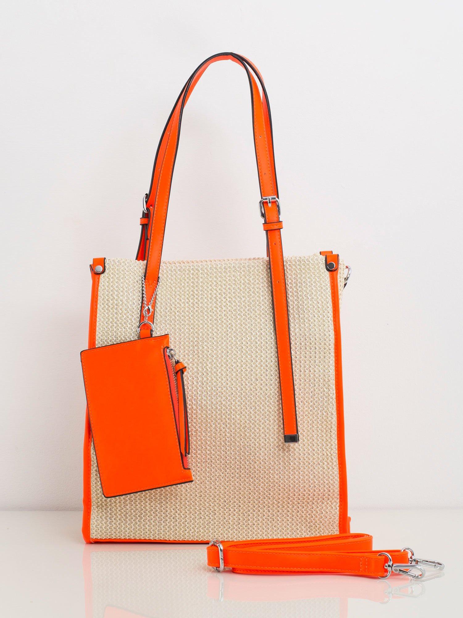 Béžová kabelka na rameno s oranžovým lemom - UNI
