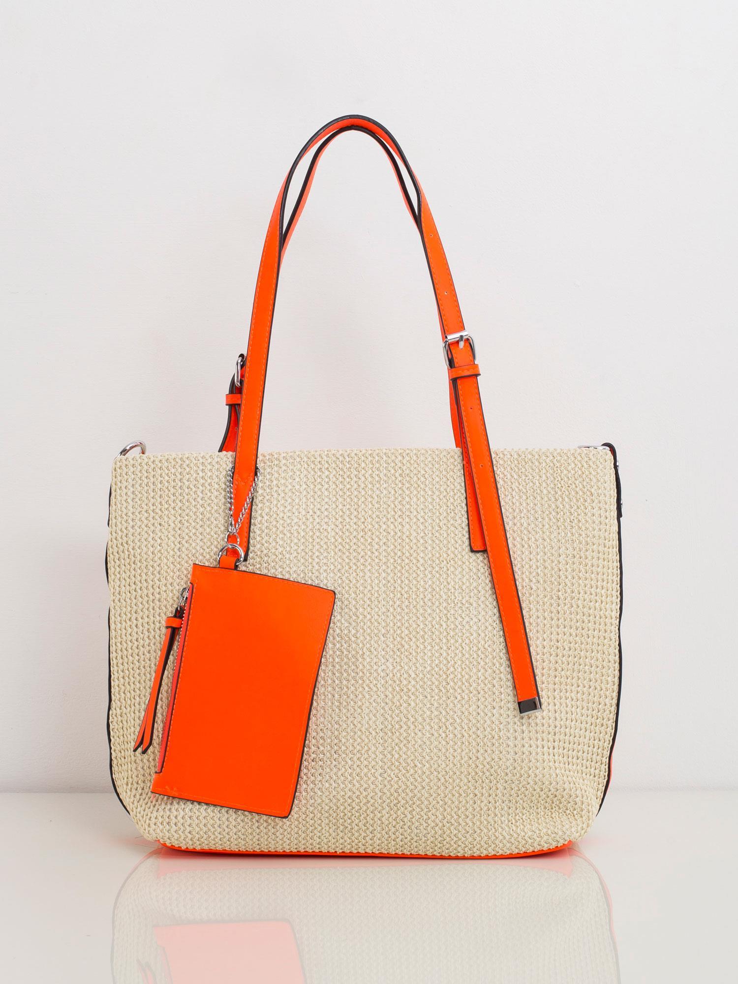 Béžová kabelka na rameno s oranžovými prvkami - UNI