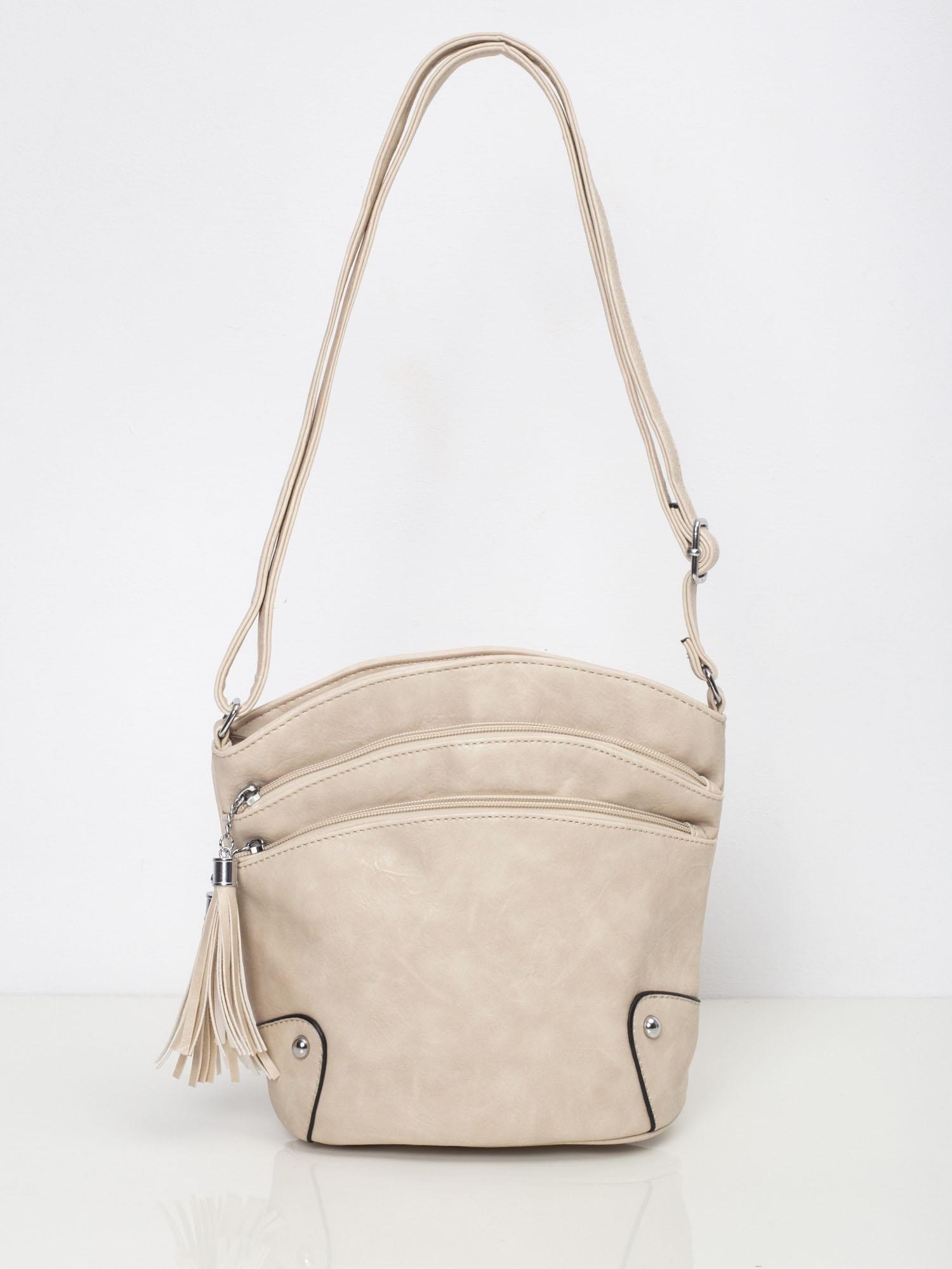 Béžová kabelka na rameno so strapcom - UNI