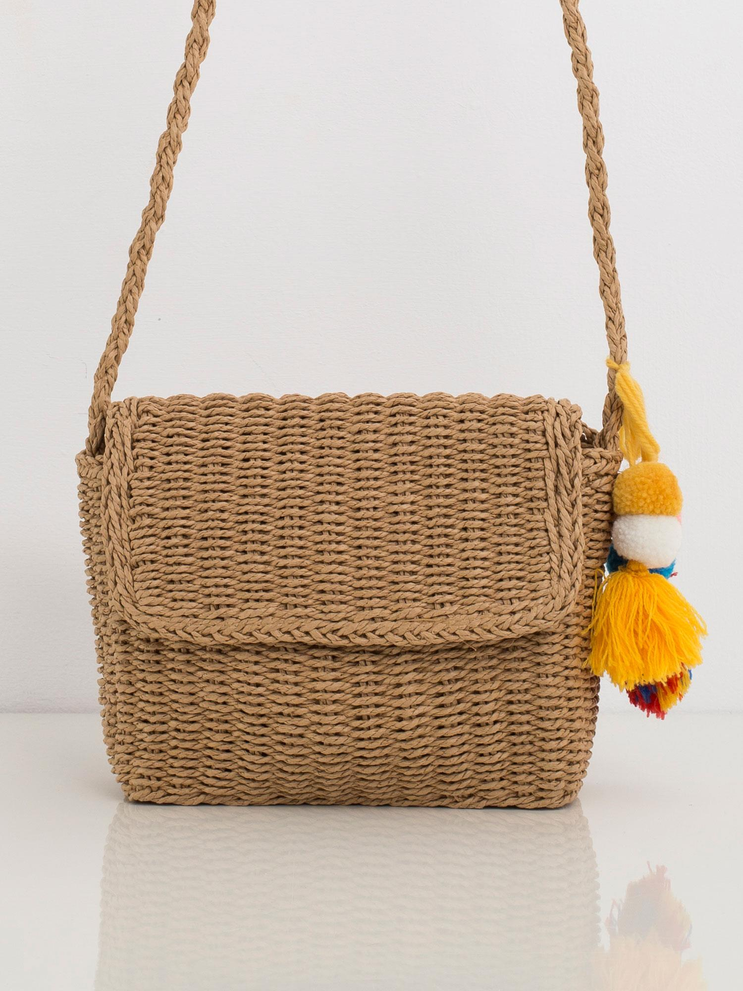 Béžová pletená kabelka na rameno - UNI