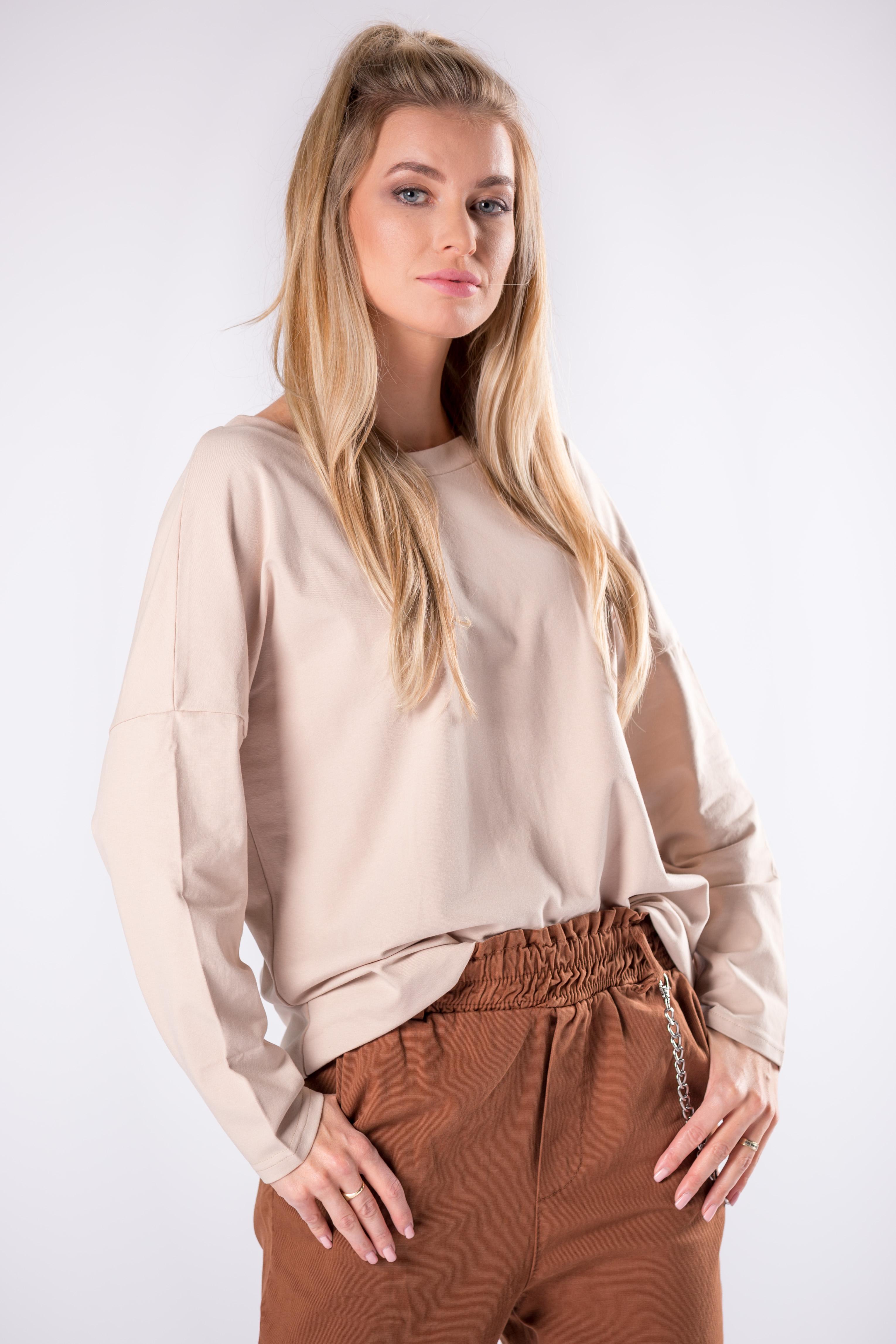 Bavlnené béžové tričko s dlhým rukávom - UNI
