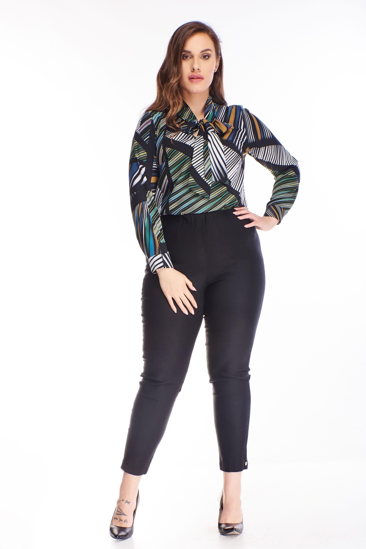 Čierne nohavice s vysokým pásom - 46